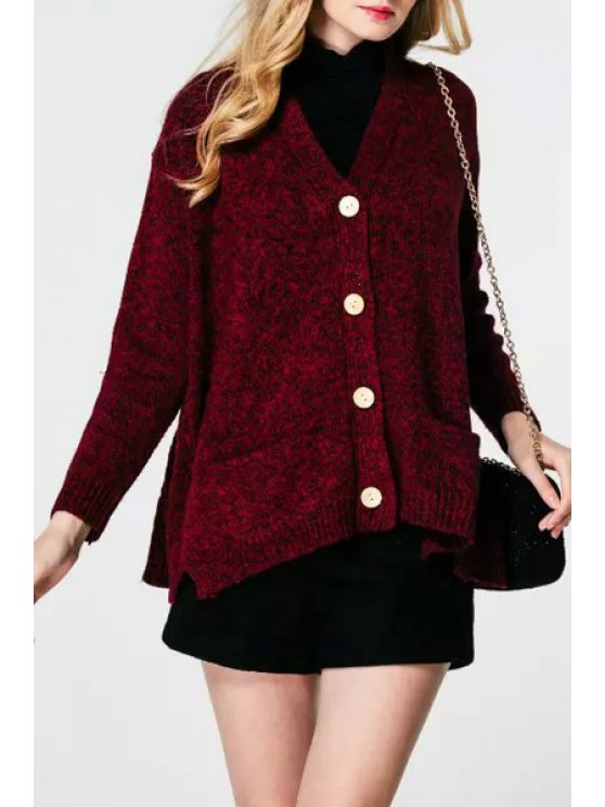 lady Single-Breasted Two Pockets Cardigan - WINE RED ONE SIZE(FIT SIZE XS TO M)