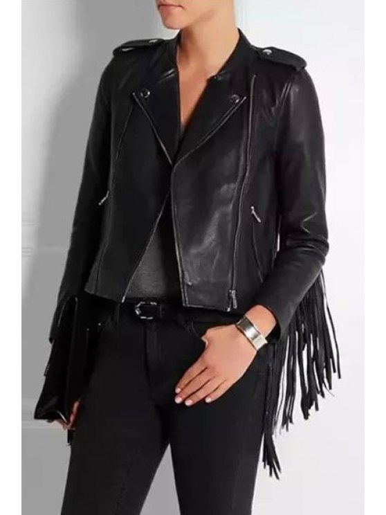 buy Zip Pocket Fringed PU Leather Jacket - BLACK S