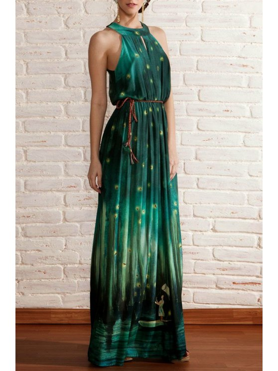 women's Floral Print Sleeveless Round Collar Sexy Dress - GREEN S