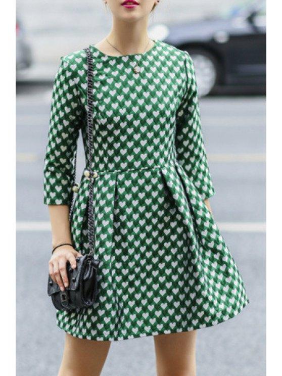 women's 3/4 Sleeve Full Heart Pattern Dress - GREEN M