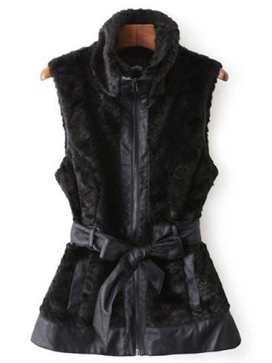 buy Self-Tie Belt Faux Fur Waistcoat - BLACK S