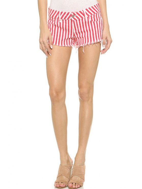 ladies Red Striped Straight Leg Shorts - RED WITH WHITE XS