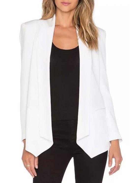 ladies Shawl Neck Two Pockets Blazer - WHITE S