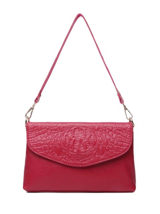 womens Crocodile Print Embossing Zipper Shoulder Bag - ROSE