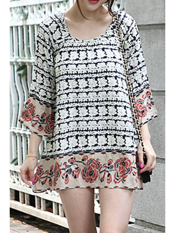 outfits Floral Print Scoop Neck Loose-Fitting Dress - COLORMIX S