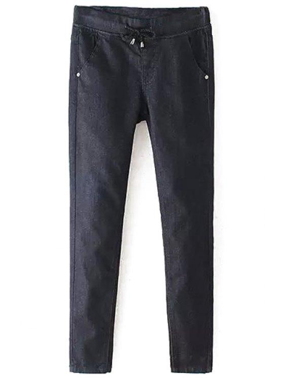 fancy Solid Color Elastic Waist Drawstring Jeans - BLACK 26