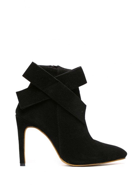 latest Bowknot Suede Zipper High Heel Boots - BLACK 34