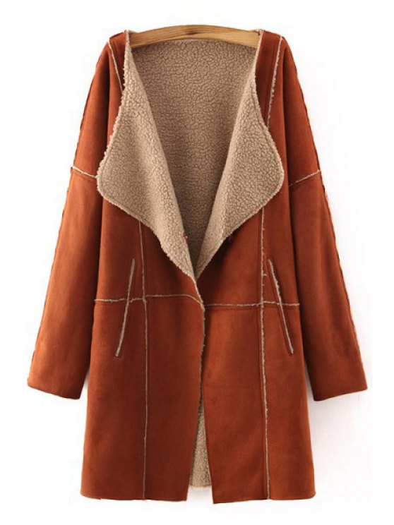outfit Open Front Fleece Lining Suede Coat - BROWN S