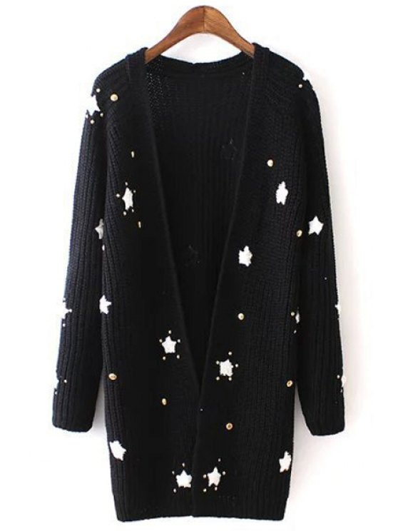 latest Long Sleeve Star Pattern Long Cardigan - BLACK ONE SIZE(FIT SIZE XS TO M)
