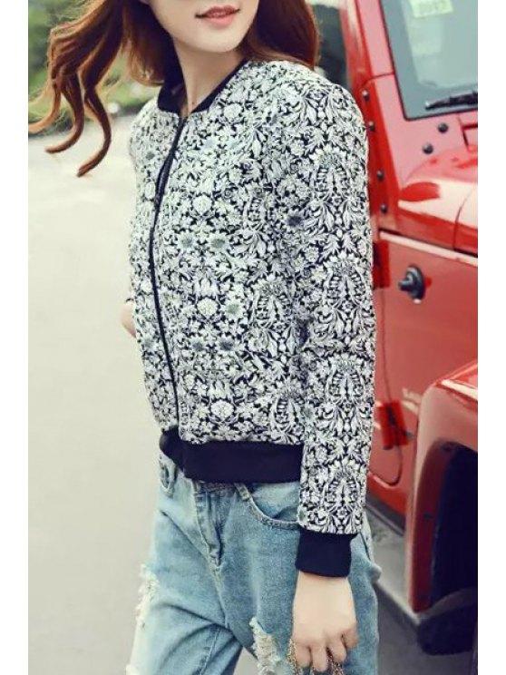 women's Stand Neck Floral Baseball Jacket - BLACK S
