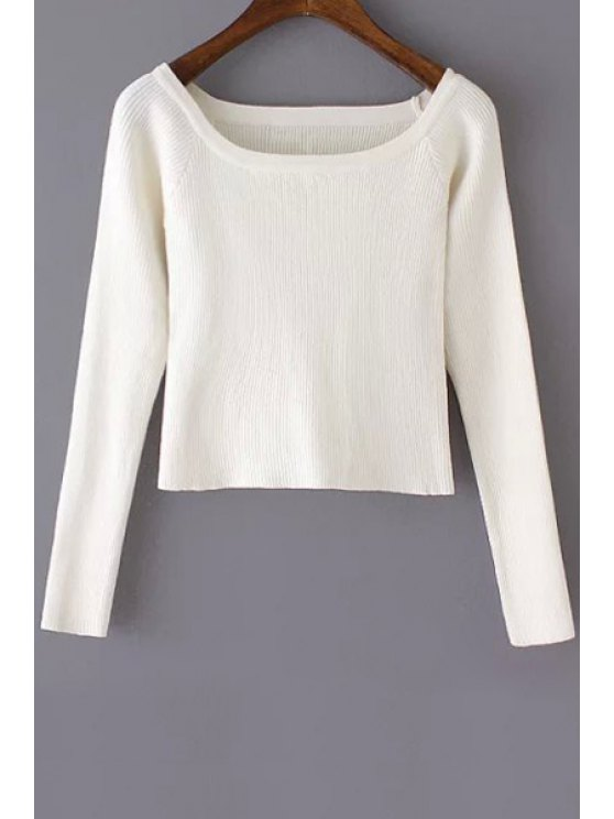 lady Pure Color Scoop Neck Long Sleeve Jumper - WHITE S