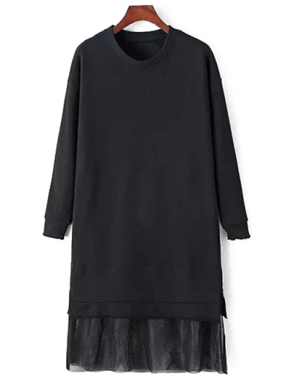 best Mesh Spliced Long Sleeve Dress - BLACK M