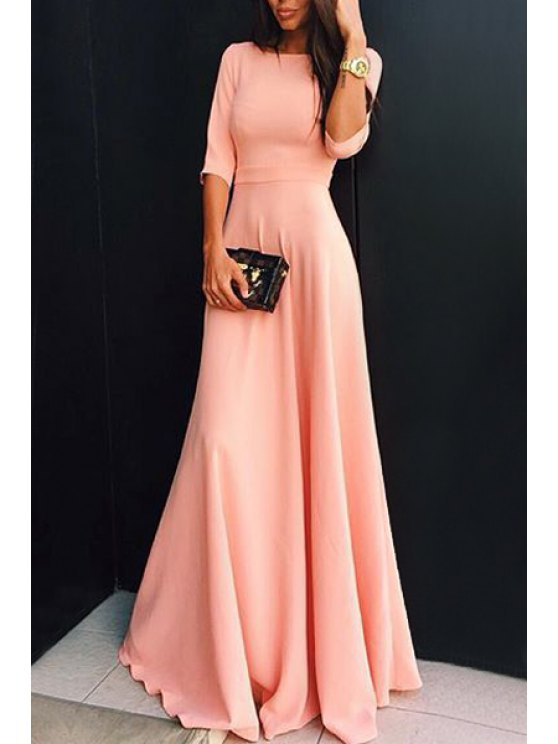 chic Pink 3/4 Sleeves Round Collar Maxi Dress - PINK S