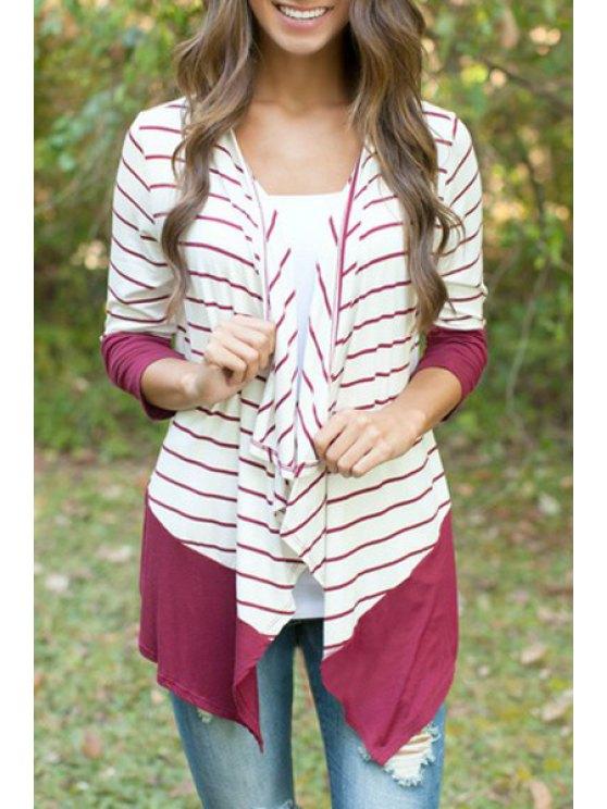 womens Long Sleeves Stripe Spliced Cardigan - WHITE S
