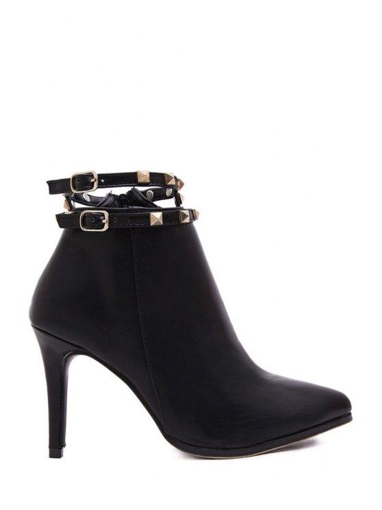 trendy Rivets Buckle Solid Color High Heel Boots - BLACK 38