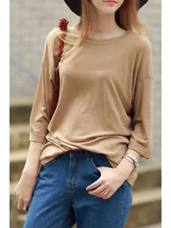 affordable Pure Color Long Sleeves Round Collar T-Shirt - KHAKI S