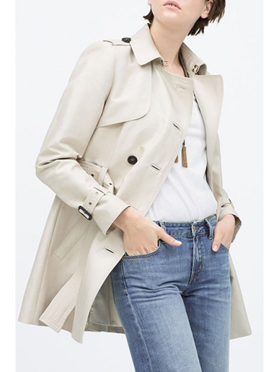 unique Turn Down Collar Double-Breasted Trench Coat - OFF-WHITE S