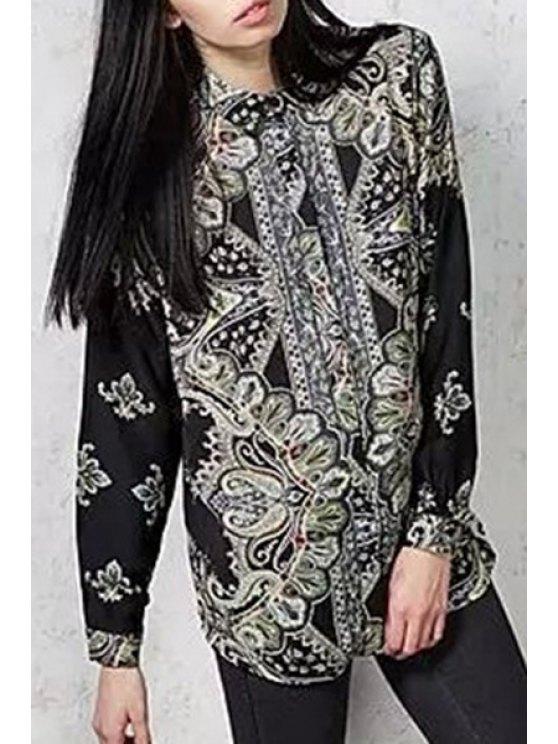 shops Long Sleeve Printed Shirt - BLACK L