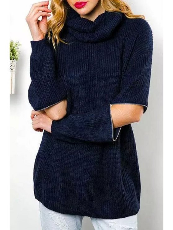 shop Turtle Neck Hollow Elbow Sweater - PURPLISH BLUE ONE SIZE(FIT SIZE XS TO M)