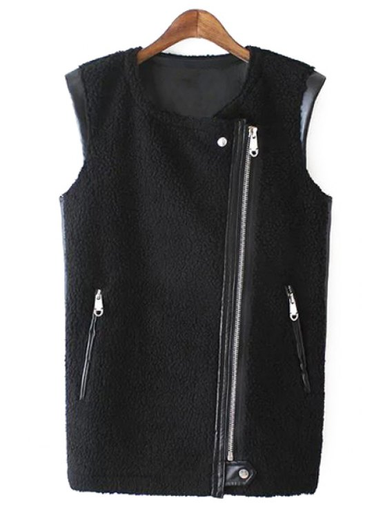 Cuello redondo de cuero negro chaleco de cremallera - Negro M