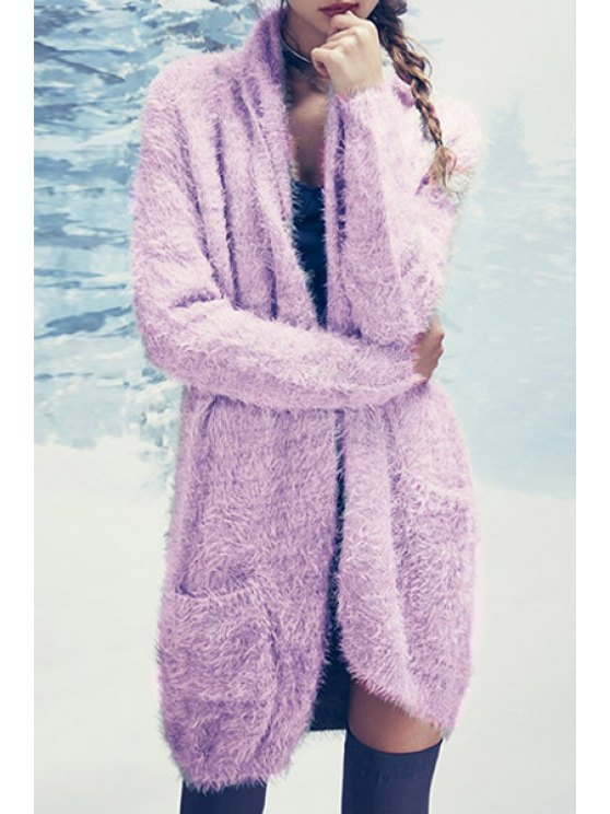 affordable Light Purple Long Sleeve Mohair Cardigan - LIGHT PURPLE S