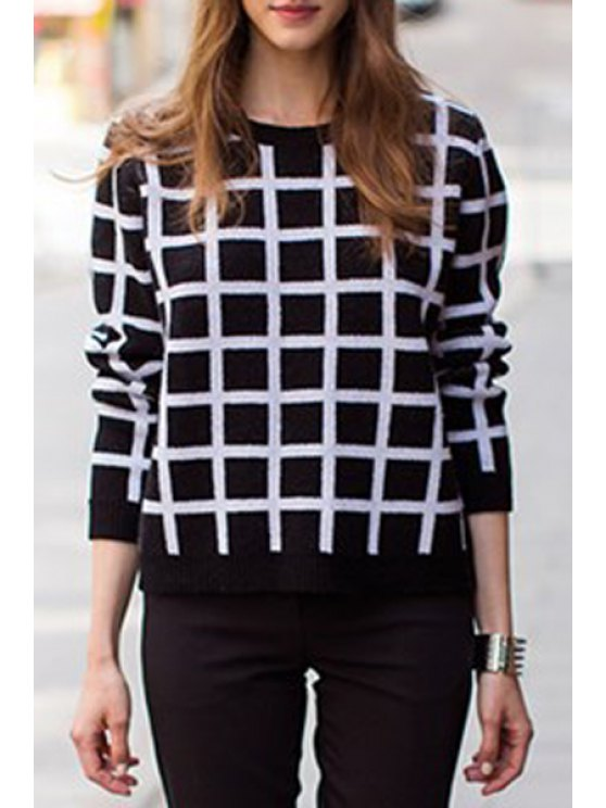 fashion Plaid Round Collar Long Sleeves Pullover Sweater - BLACK ONE SIZE(FIT SIZE XS TO M)