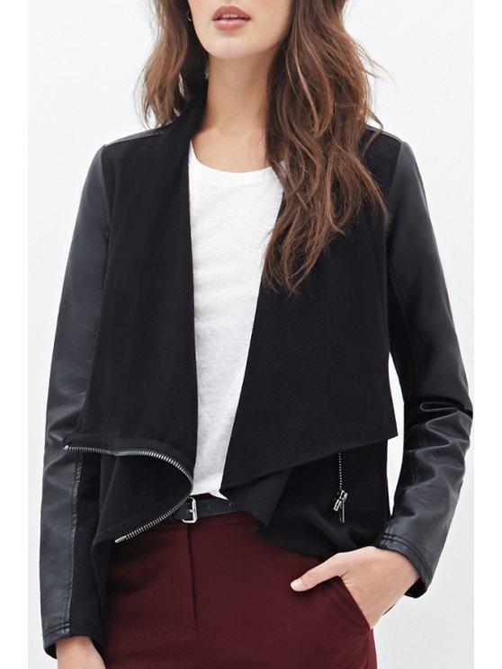 buy Long Sleeve Spliced PU Leather Jacket - BLACK XS