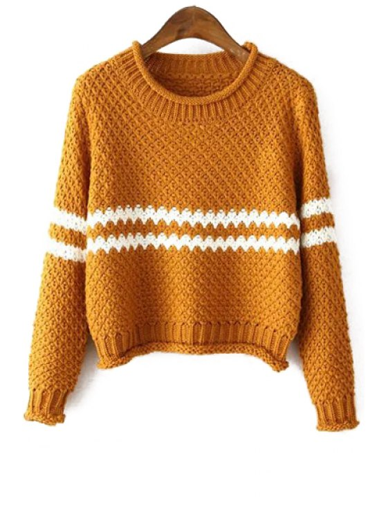 affordable Stripe Color Matching Round Collar Long Sleeevs Sweater - YELLOW ONE SIZE(FIT SIZE XS TO M)