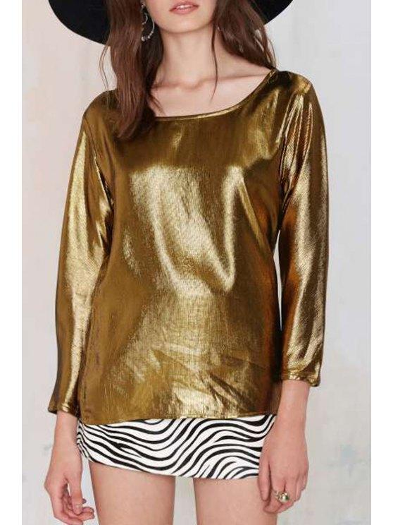 shops Golden Scoop Neck Long Sleeve T-Shirt - GOLDEN S