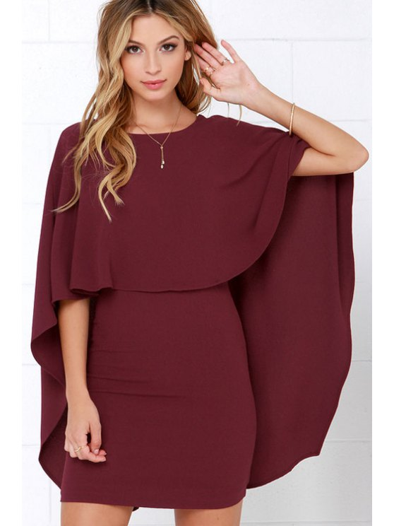 women's Backless Cape Design Bodycon Dress - WINE RED XS