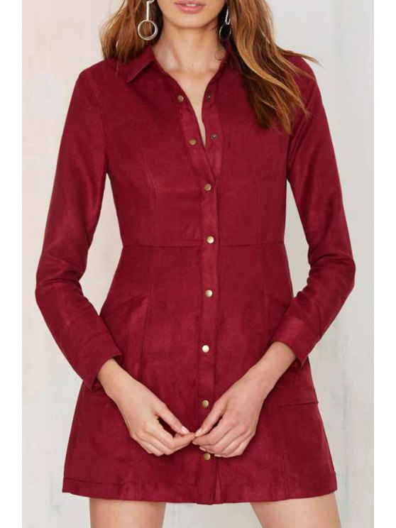 trendy Long Sleeve Single-Breasted Shirt Dress - RED XS