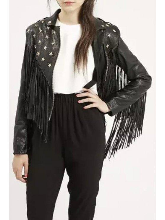 hot Tassels Flat Collar Black Zipper PU Leather Jacket - BLACK S