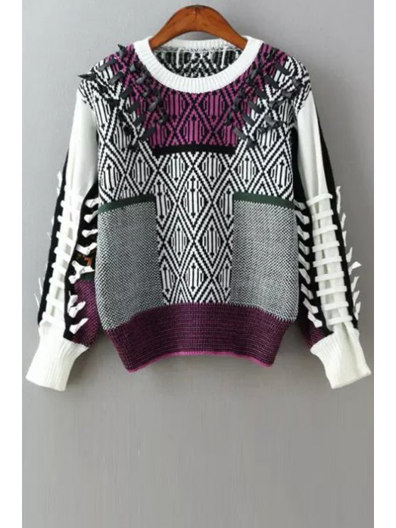 shops Color Block Unique Round Collar Pullover Sweater - PURPLE ONE SIZE(FIT SIZE XS TO M)