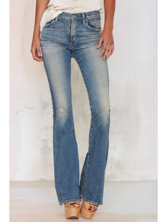 ladies Bleach Wash Frayed Flare Jeans - BLUE XL
