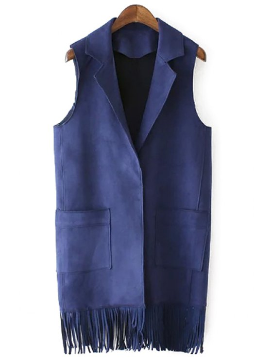 outfit Faux Suede Lapel Collar Tassels Waistcoat - CADETBLUE S