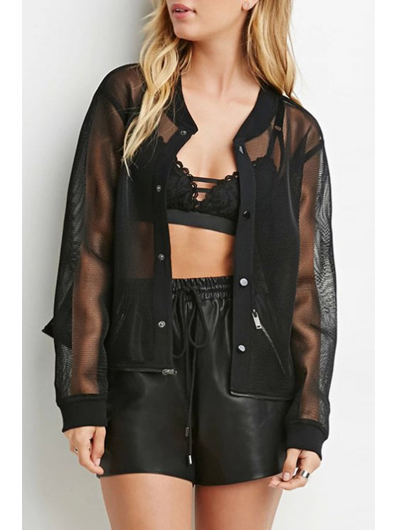 outfit See-Through Mesh Design Convertible Jacket - BLACK XS