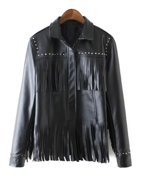 hot Pure Color Double Layered Tassels PU Leather Jacket - BLACK S