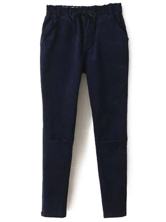 outfit Solid Color Corduroy Women's Harem Pants - CADETBLUE M