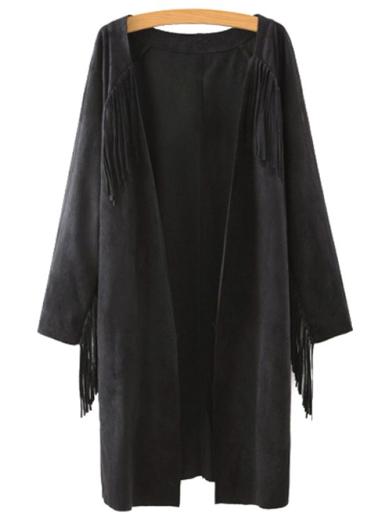 trendy Solid Color Collarless Long Sleeves Faux Suede Cardigan - BLACK S