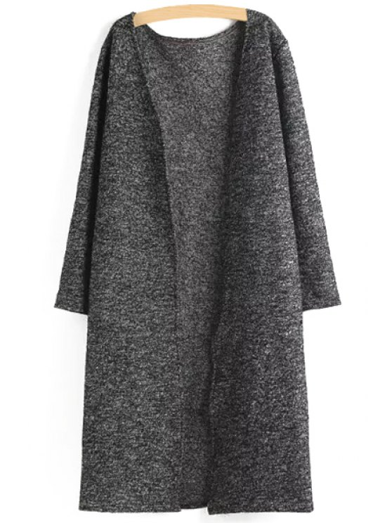 affordable Brief Collarless Long Sleeves Solid Color Cardigan - GRAY S