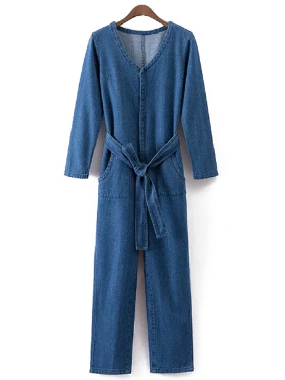 fashion Solid Color Scoop Neck Long Sleeves Denim Jumpsuit - BLUE S