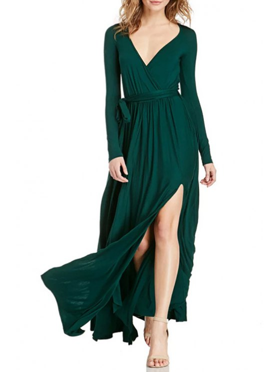 best Pure Color Slit Plunging Neck Maxi Dress - BLACKISH GREEN M