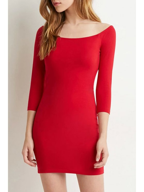 buy Pure Color Slash Neck 3/4 Sleeve Bodycon Dress - RED S
