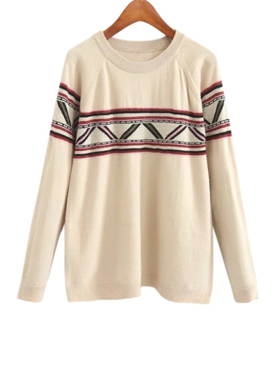 women Round Collar Long Sleeves Geometric Print Pullover Sweater - OFF-WHITE ONE SIZE(FIT SIZE XS TO M)
