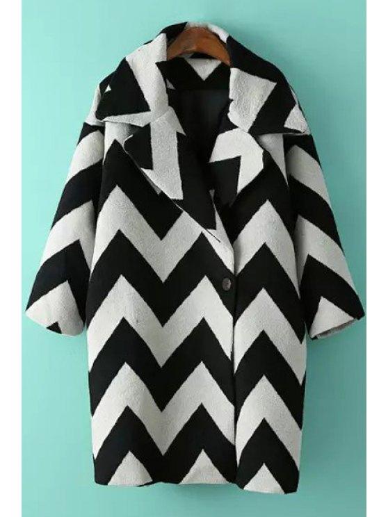 ladies Zig Zag Pattern Lapel Long Sleeve Coat - WHITE ONE SIZE(FIT SIZE XS TO M)