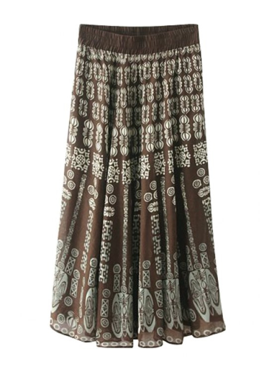 online Elastic Waist Totem Print Long Skirt - DUN ONE SIZE(FIT SIZE XS TO M)