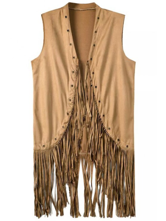 latest Pure Color Tassels Stand Neck Waistcoat - KHAKI S