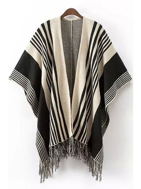 women's Stripe Tassels Stylish Women's Cape Cardigan - COLORMIX ONE SIZE(FIT SIZE XS TO M)