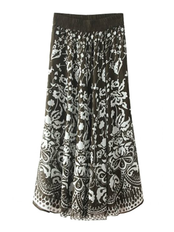outfit Vintage Floral Print Long Skirt - BLACK ONE SIZE(FIT SIZE XS TO M)