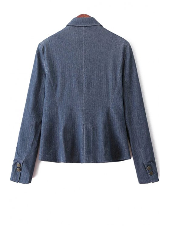Blue Denim Lapel Long Sleeve Blazer - BLUE S Mobile